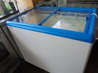 CHEST FREEZER SLIDING CLASS TOP NICE N CLEAN FREE DELIVERY