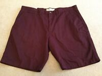 Men's Asda George Casual burgundy / red chino style shorts BRand New size 40 ""