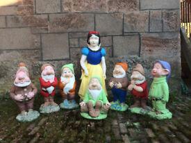 Snow White and Seven Dwarves solid concrete garden figures