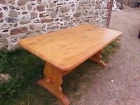 Gorgeous Large 20th century solid wood plank top refectory table