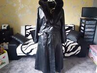 "leather Mink Fur Collar long Coat . "" New "" Size UK14/16"