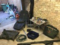 Fishing equipment, bed, fishing, carp, tackle, rod bag, landing mat, landing net,