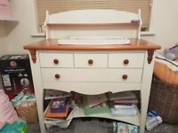 Solid wood baby changing table with draws and storage