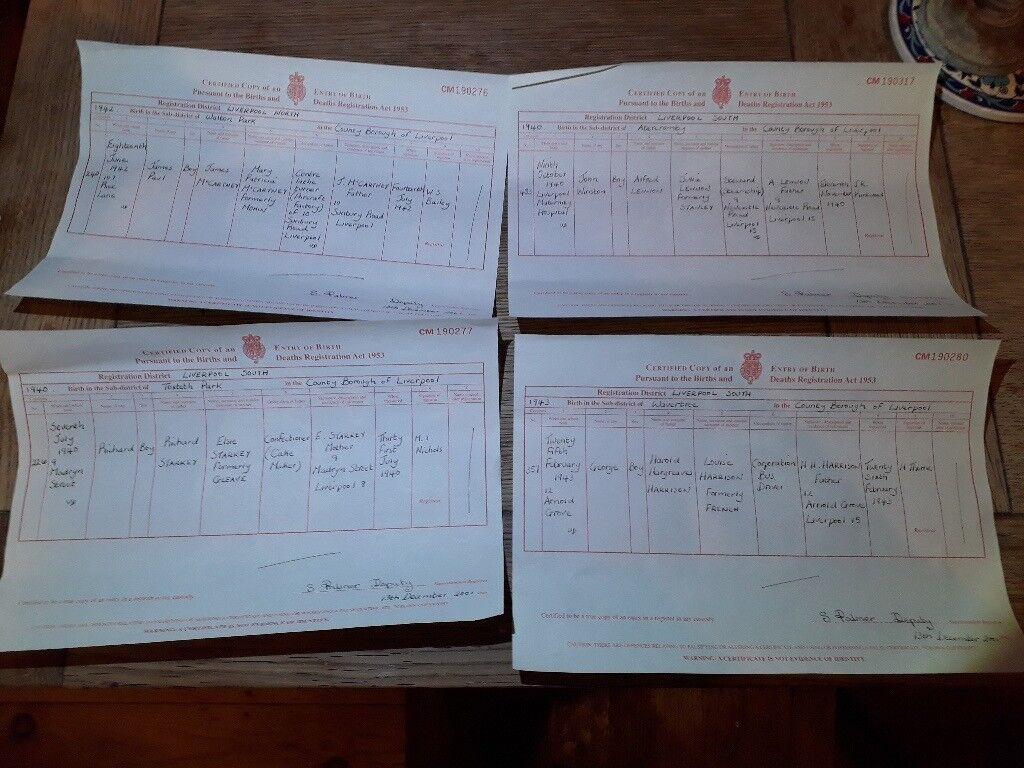 The beatles birth certificates george ringo john and paul in the beatles birth certificates george ringo john and paul aiddatafo Choice Image