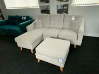 Ex display corner sofa plush velvet silver + footstool sale now on fast delivery