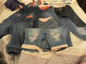 Bundle of girls 3-6 month jeans