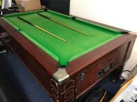 Full size pub pool table (With balls, cues and trolley jack)