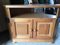 Solid pine tv corner unit with cupboard