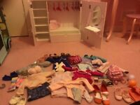 Our Generation Wooden Wardrobe Plus lots of clothes and accessories