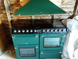 Belling electric range cooker and hood