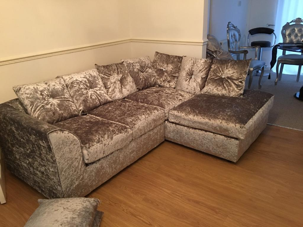 Silver Crushed Velvet Diamante Cushion Corner Sofa In