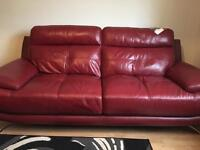 Sofa Red Leather 3-seater