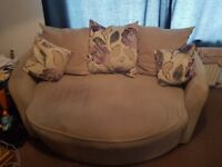 Grey 2 seater sofa and red 3 seater sofa