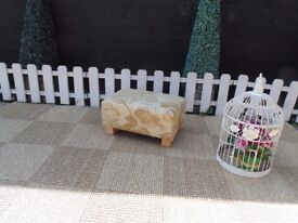 ABSOLUTELY BEAUTIFUL FOOTSTOOL WITH PINE LEGS VERY SOLID STOOL AND IN EXCELLENT CONDITION