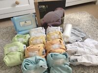 Brand new Popin reusable nappies 10 bamboo and minkee mix from birth to potty pastel unisex colours