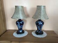 Pair of ceramic side lamps