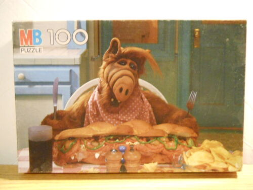 Complete 1987 MILTON BRADLEY ALF Eating Sub 100 PIECE Jigsaw Puzzle TV Show