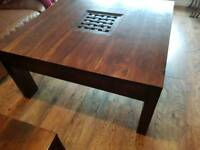 Huge sheesham jali mango wood swuare coffee table & matching lamp side table