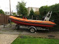 Tornado Viking 5.4m rigid hull infatable boat with trailer and 90hp outboard