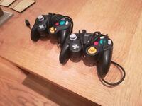 2x Black Gamecube Controllers - Original Nintendo OEM