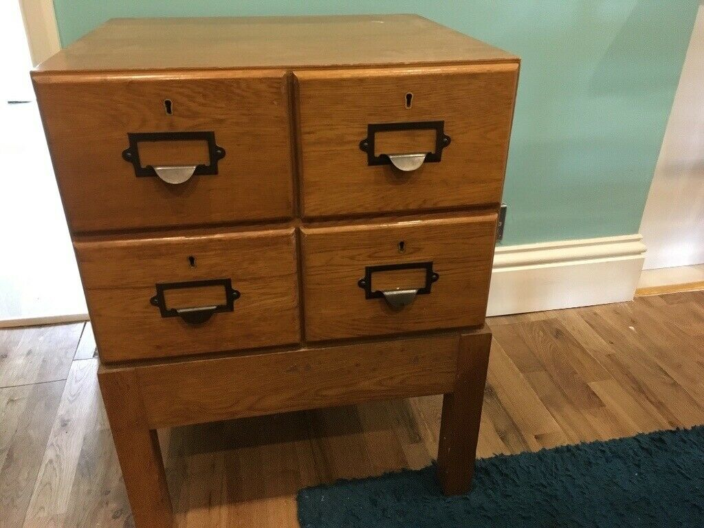 Wooden Library Drawers Vintage Card Index Cabinet In
