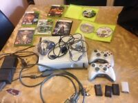 Xbox 360 120Gb White Version + Games + 2 Wireless Controllers and All Cables