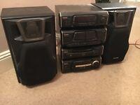 Technics Hi-Fi system, tuner, amp, CD changer, double cassette deck.