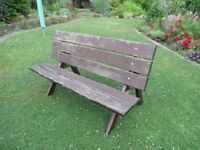 Garden seat/ bench with table, red cedar, needs some tlc, width 147cm, unscrews to transport