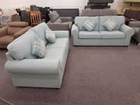 Display Item Pair Of Light Blue 3 Seater Designer Fabric Sofas **CAN DELIVER**