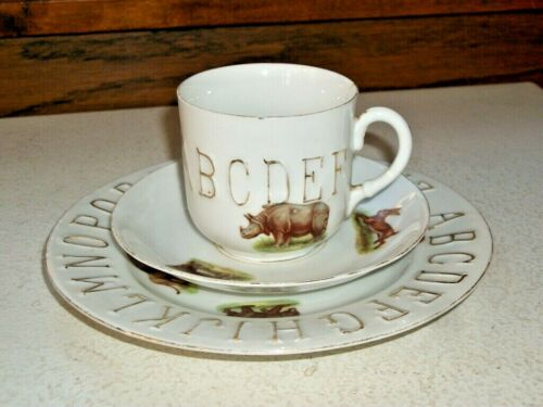ABC Plate, Cup and Saucer. Germany. Circa 1910s. VERY RARE