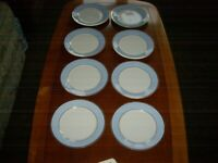 Doulton Salad Plate 2004 Blue And White With Gold Edge RD Bruce Oldfield x 8