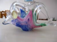 Vintage 1960's Murano small glass vase/basket