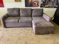 VELVET FABRIC CORNER SOFA + BED + STORAGE IN NICE CONDITION VERY COMFY FREE DELIVERY