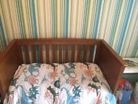 Mamas and papas solid oak nursery cot/bed
