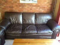 Luxury chocolate leather 4 seater sofa and arm chair £120