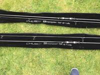 Two Chub Carp Rods and Shimano Baitrunner reels