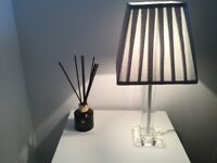 Gorgeous grey velvet effect lamp with glass base