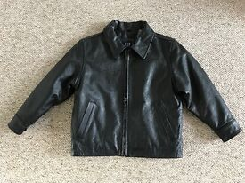 Boys Leather Jacket in Black, Size XS