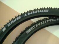 2 new schwalbe mountain bike tyres 26 inh / size 26 x 2.25