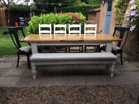 Large 7ft Solid Oak 8/10 seater table, chairs and bench, Farrow&Ball french grey