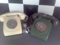 2 x Retro Dial Telephones