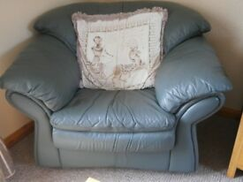 Green leather large easy chair