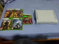 XBOX 360 CONSOLE AND 5 GAMES 60GB NO CABLES FULLY WORKING