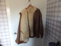 Mens leather and sheepskin jacket