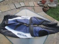 Richa Motorbike leathers - trousers (40) and jacket (48) - new, unused - navy, black and white