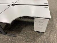 office furniture off white 1.6 meter radial desks with pedstals