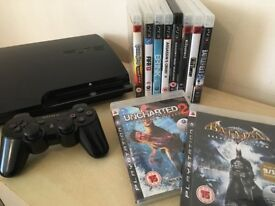 PS3 Slim Console 120GB + Wireless Controller + Loads of Games + All Leads