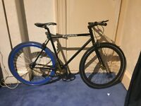 Custom Made No Logo Fixed Gear Bike- Black with blue back wheel!