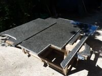 Black crystalline Granite Kitchen top/work surface - 4 pieces attractive silver flecking, heavy duty