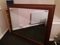Large dark wood framed mirror 52 x 42 inches